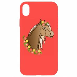 Чехол для iPhone XR Horse and flowers art