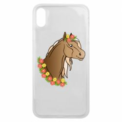 Чехол для iPhone Xs Max Horse and flowers art