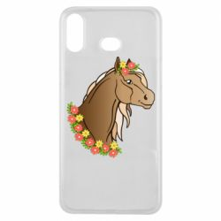 Чехол для Samsung A6s Horse and flowers art