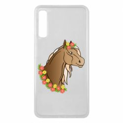 Чехол для Samsung A7 2018 Horse and flowers art