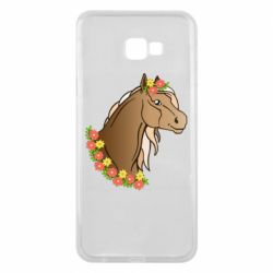 Чехол для Samsung J4 Plus 2018 Horse and flowers art
