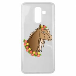 Чехол для Samsung J8 2018 Horse and flowers art
