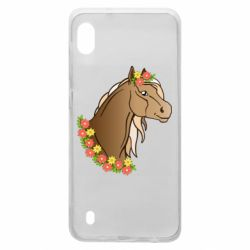 Чехол для Samsung A10 Horse and flowers art