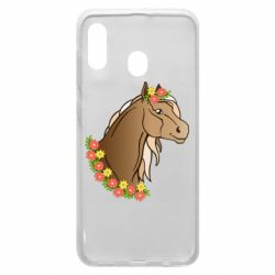 Чехол для Samsung A20 Horse and flowers art