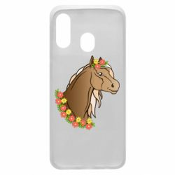 Чехол для Samsung A40 Horse and flowers art