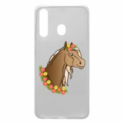 Чехол для Samsung A60 Horse and flowers art