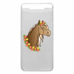 Чехол для Samsung A80 Horse and flowers art