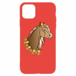 Чехол для iPhone 11 Horse and flowers art