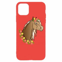 Чехол для iPhone 11 Pro Horse and flowers art