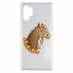 Чехол для Samsung Note 10 Plus Horse and flowers art