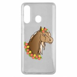Чехол для Samsung M40 Horse and flowers art
