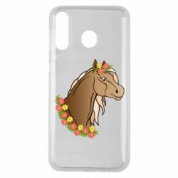 Чехол для Samsung M30 Horse and flowers art