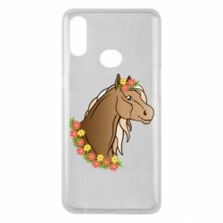 Чехол для Samsung A10s Horse and flowers art