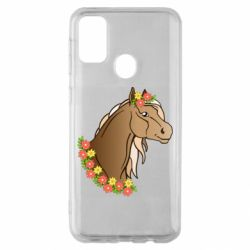 Чехол для Samsung M30s Horse and flowers art