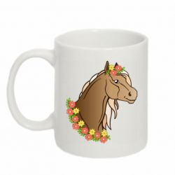 Кружка 320ml Horse and flowers art