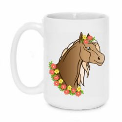 Кружка 420ml Horse and flowers art