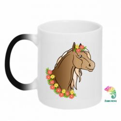 Кружка-хамелеон Horse and flowers art