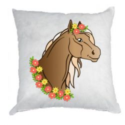 Подушка Horse and flowers art