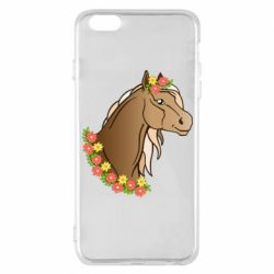 Чехол для iPhone 6 Plus/6S Plus Horse and flowers art