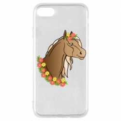 Чехол для iPhone 7 Horse and flowers art