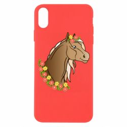 Чехол для iPhone X/Xs Horse and flowers art