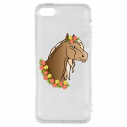 Чехол для iPhone5/5S/SE Horse and flowers art