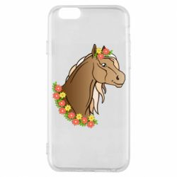 Чехол для iPhone 6/6S Horse and flowers art