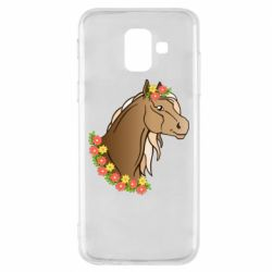 Чехол для Samsung A6 2018 Horse and flowers art