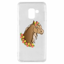 Чехол для Samsung A8 2018 Horse and flowers art