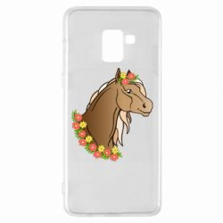 Чехол для Samsung A8+ 2018 Horse and flowers art