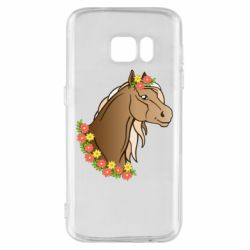 Чехол для Samsung S7 Horse and flowers art