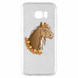 Чехол для Samsung S7 EDGE Horse and flowers art