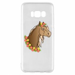 Чехол для Samsung S8 Horse and flowers art