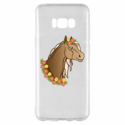 Чехол для Samsung S8+ Horse and flowers art