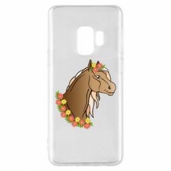 Чехол для Samsung S9 Horse and flowers art