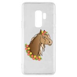 Чехол для Samsung S9+ Horse and flowers art
