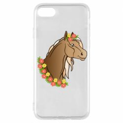Чехол для iPhone 8 Horse and flowers art