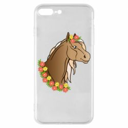 Чехол для iPhone 8 Plus Horse and flowers art