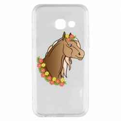 Чехол для Samsung A3 2017 Horse and flowers art