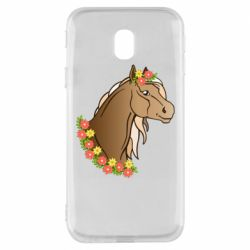 Чехол для Samsung J3 2017 Horse and flowers art