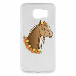 Чехол для Samsung S6 Horse and flowers art