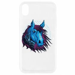 Чехол для iPhone XR Horse and neon color