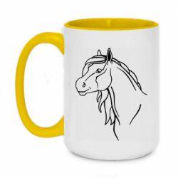 Кружка двухцветная 420ml Horse contour