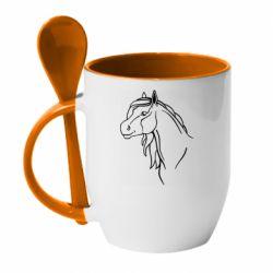 Кружка с керамической ложкой Horse contour