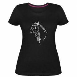 Женская стрейчевая футболка Horse contour