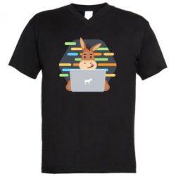 Чоловіча футболка з V-подібним вирізом Horse hacker