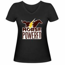 Женская футболка с V-образным вырезом Horse power