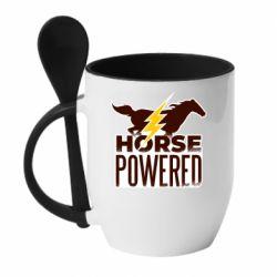 Кружка с керамической ложкой Horse power