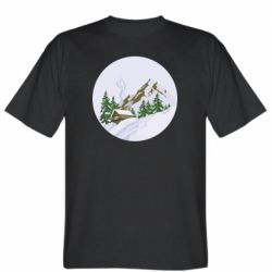 Мужская футболка House in the snowy mountains
