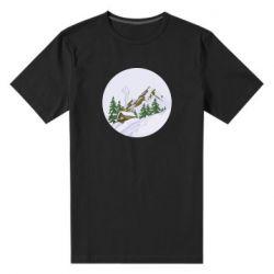 Мужская стрейчевая футболка House in the snowy mountains